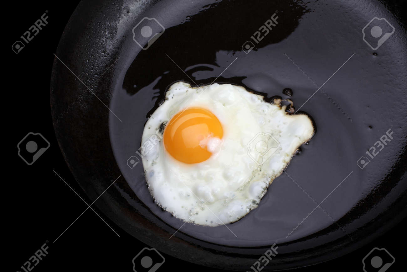 fried eggs on black pan Stock Photo - 12443147