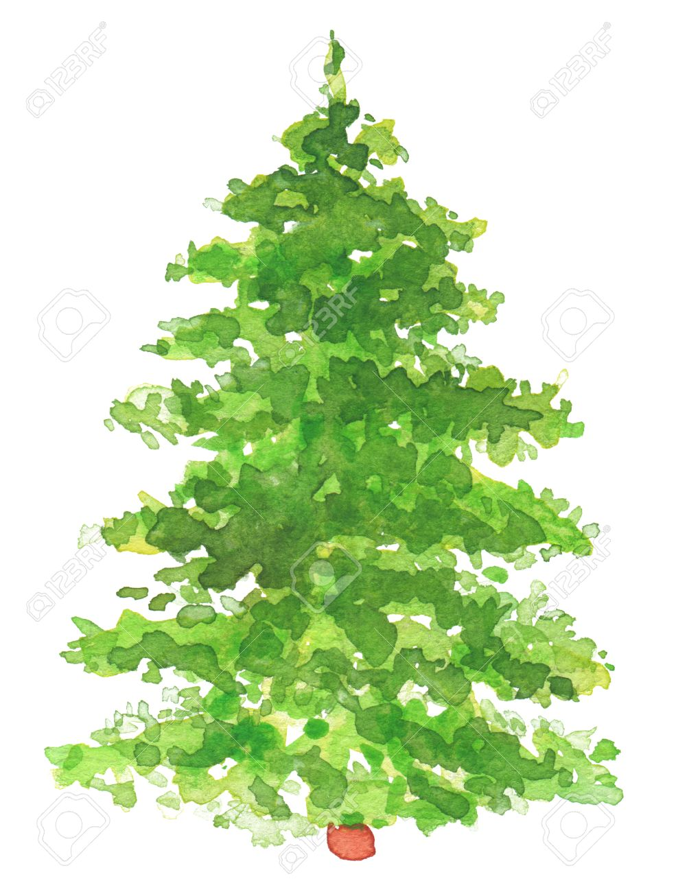 Watercolor Hand Painted Christmas Tree. Texture Paper. Stock Photo ...