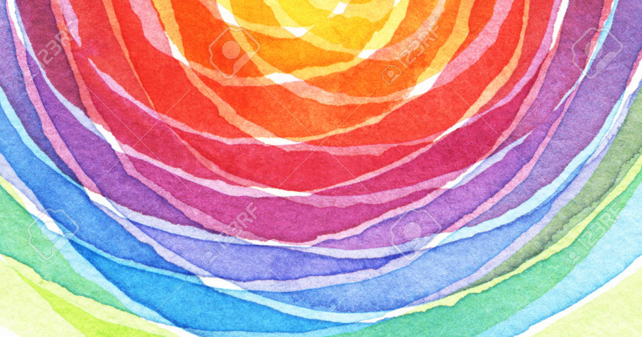Abstract rainbow acrylic and watercolor circle painted background. Texture paper. - 75375360