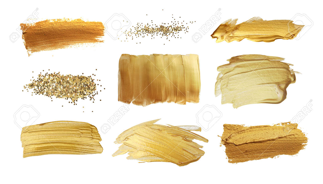 Gold (bronze) glittering color smear brush stroke stain blot on white background. Abstract Paint texture. Collection. - 140109538