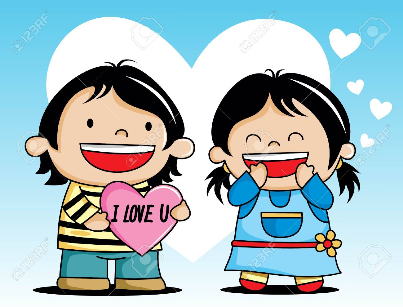 Happy Valentine S Day Lover Couple Cartoon Royalty Free Cliparts
