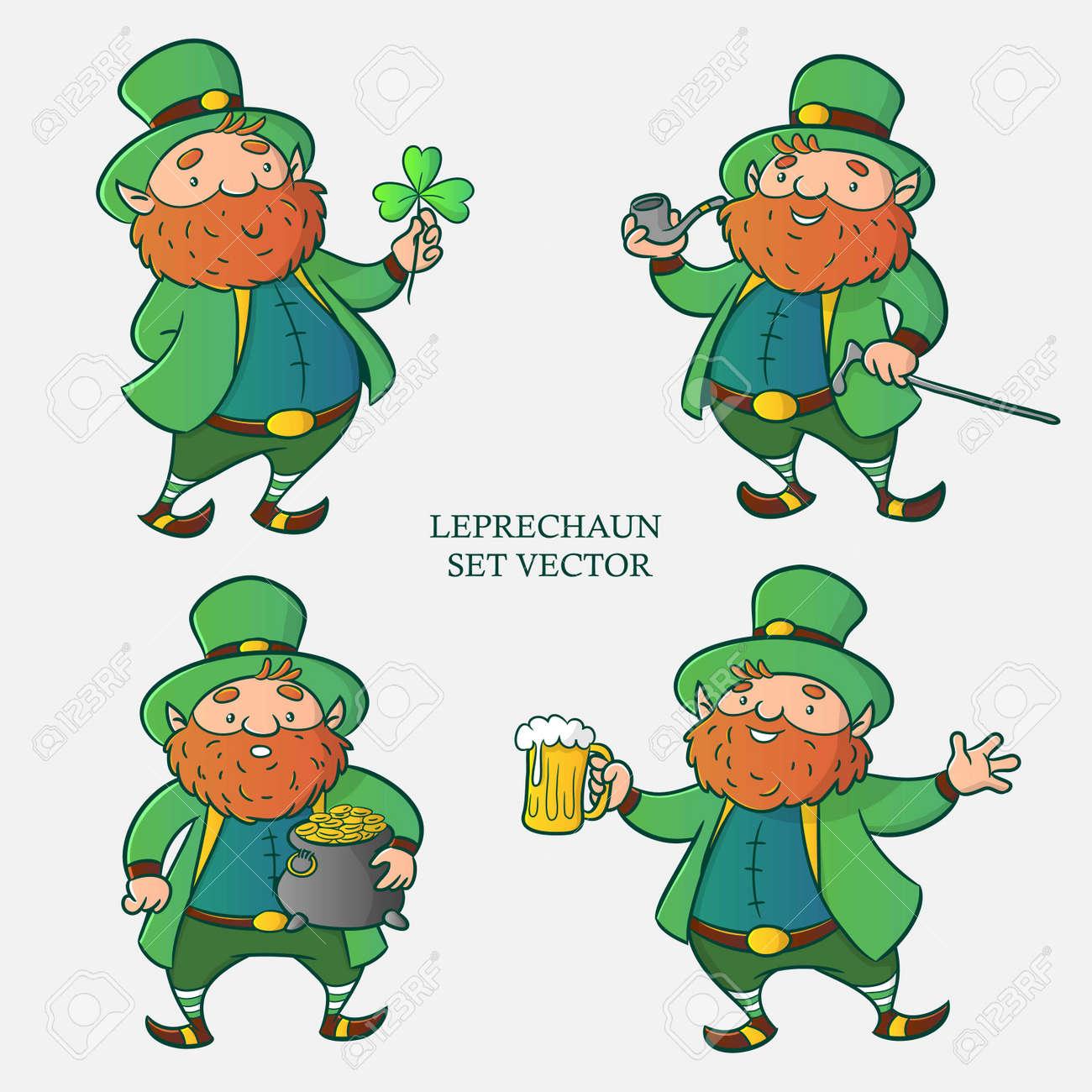 Leprechaun set vector, cartoon character, illustration for happy st patrick day - 124517710
