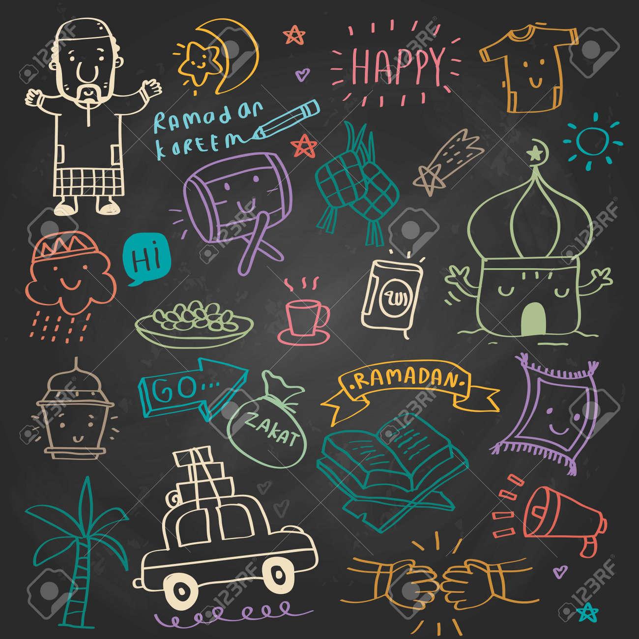 "ramadan kareem design element, doodle style , Vector illustration celebration in idul fitri, ramadan kareem means ""happy fasting ramadan"" - 142335596"