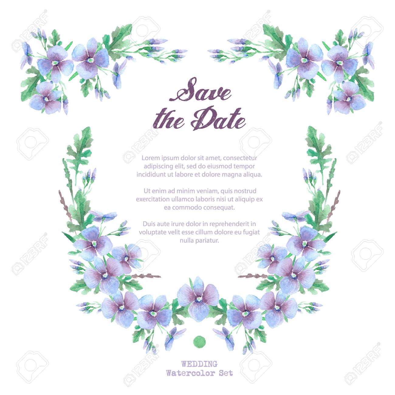 Modele Pour La Celebration Invitation De Mariage Fleurs Bleues Aquarelle Hortensia Bleu Lavande