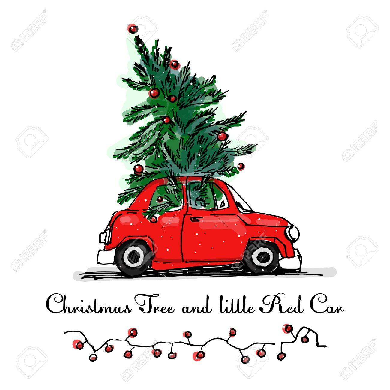 Christmas Tree Vector Image.Red Car And Christmas Tree Vector Card X Mas Cartoon Illustration