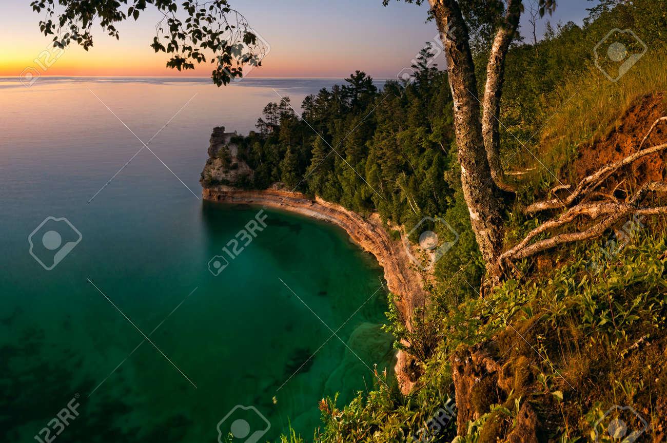 Sunset at Pictured Rock National Lakeshore, Michigan, USA Stock Photo - 9894427