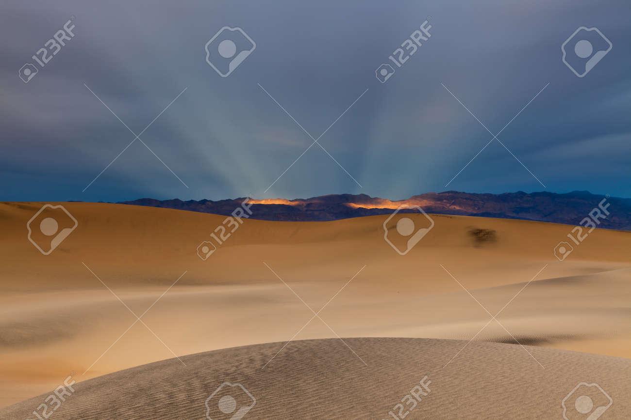 Sunbeams and desert Stock Photo - 12693085