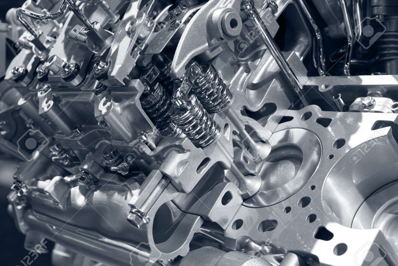 Car engine. Close up image of cross-section of new car engine concept. Stock Photo - 12693250