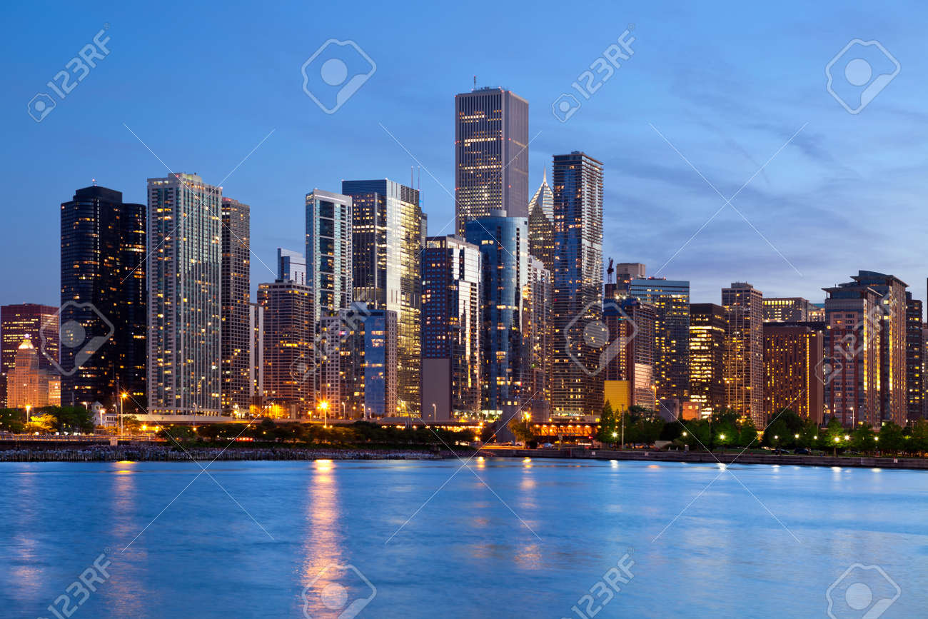 Chicago Skyline. Image of the Chicago downtown skyline at dusk. - 14126460