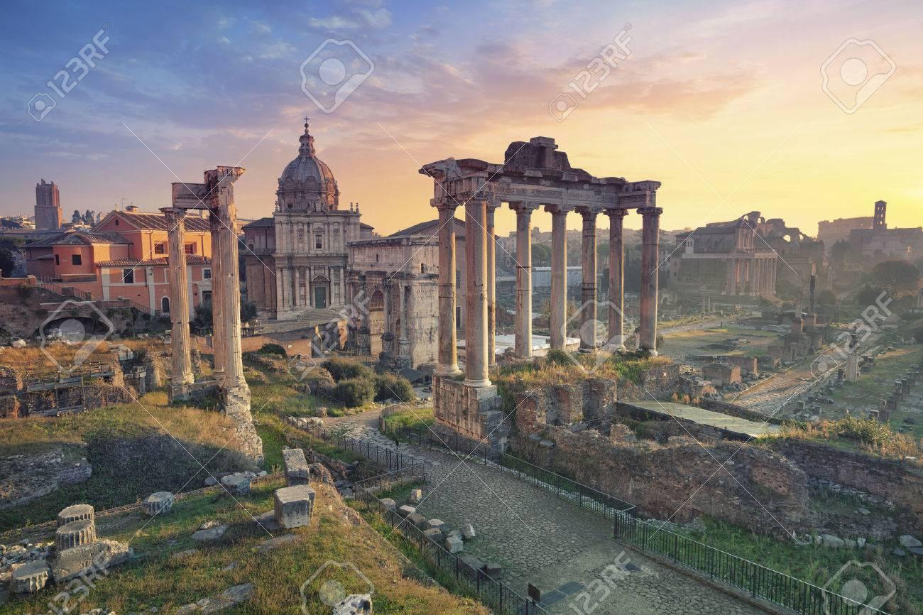 Roman Forum. Image of Roman Forum in Rome, Italy during sunrise. - 50454009