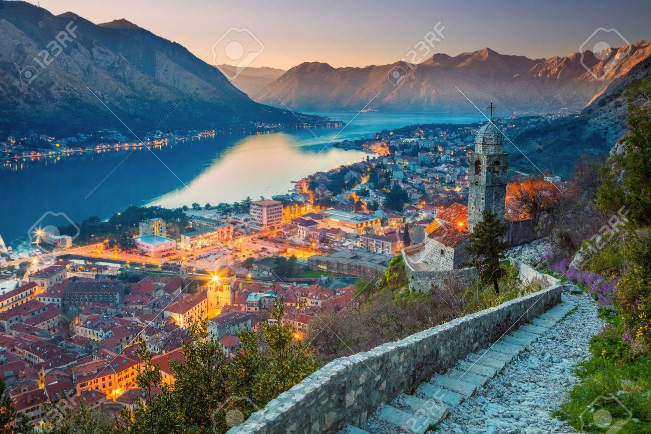 Kotor Montenegro Schöne Romantische Altstadt Von Kotor Bei