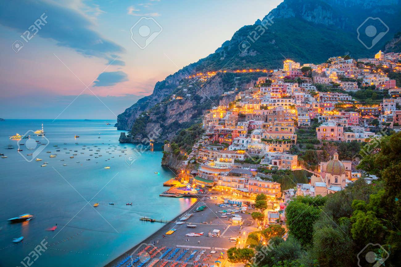 Positano. Aerial image of famous city Positano located on Amalfi Coast, Italy during sunset. - 110687021
