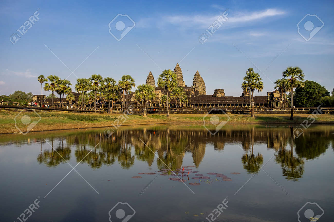 Angkor Wat is a temple complex in Cambodia and the largest religious monument in the world. Siem Reap, Cambodia. - 128808951