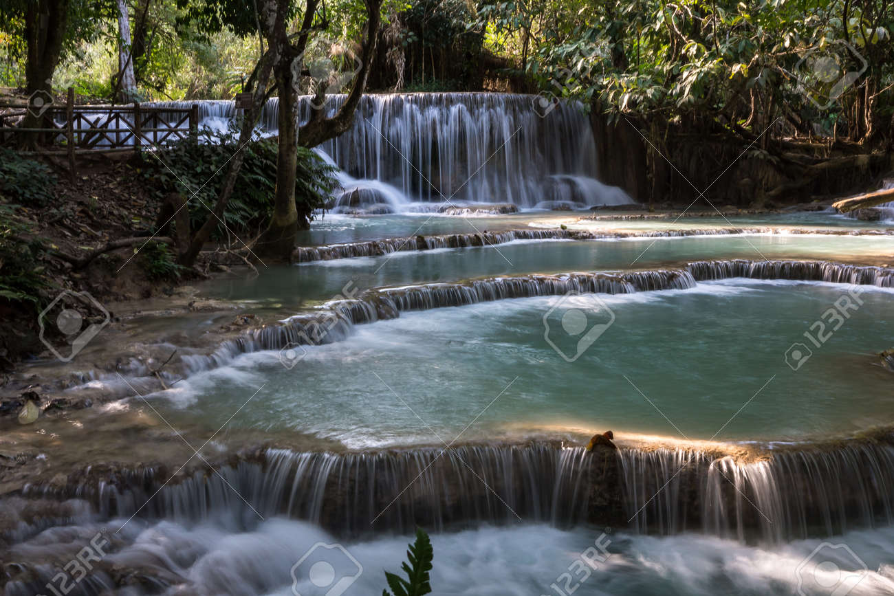 Tat Kuang Si waterfalls near Luang Prabang, Laos - 129652839