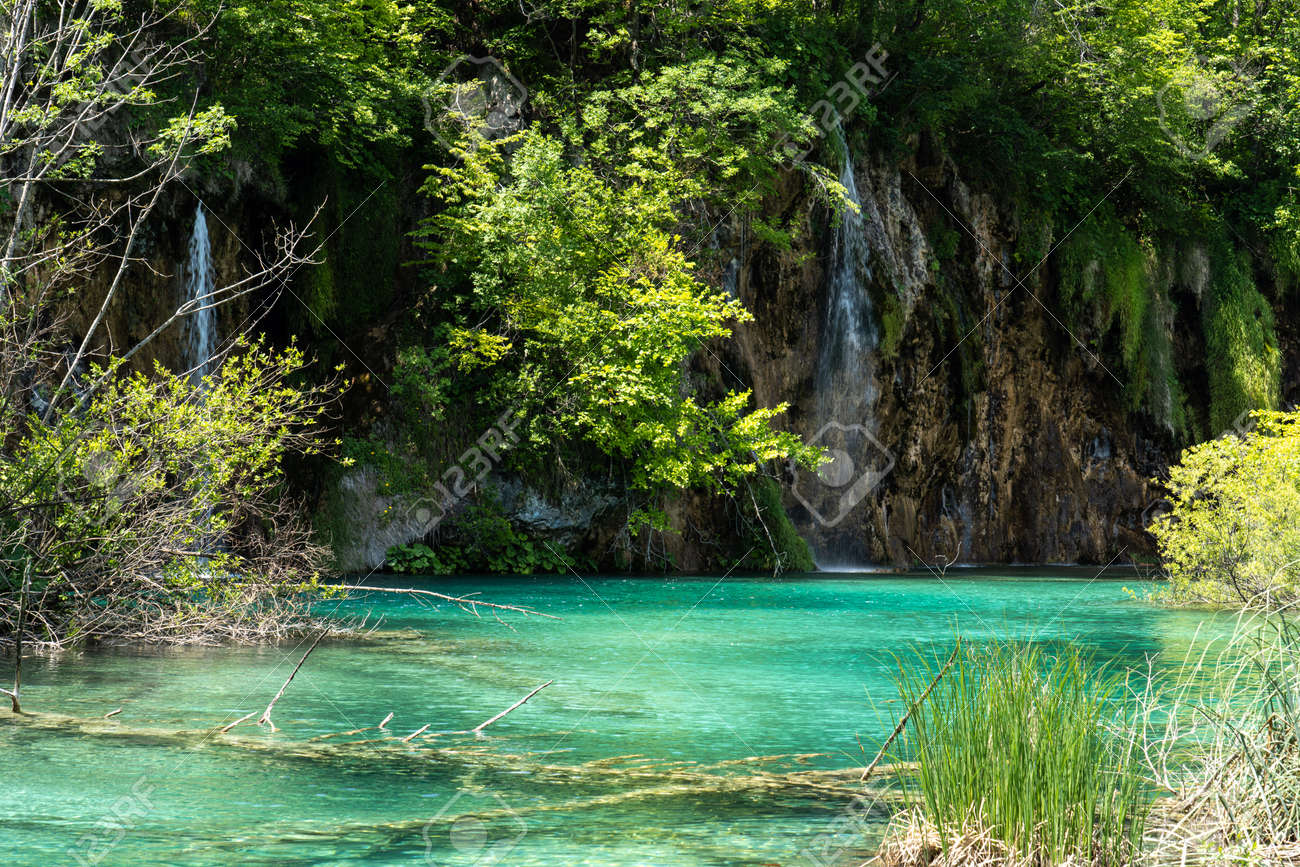 Beautiful landscape in the Plitvice Lakes National Park in Croatia. One of the oldest and largest national parks in Croatia. In 1979 it was added to the register - 155507881