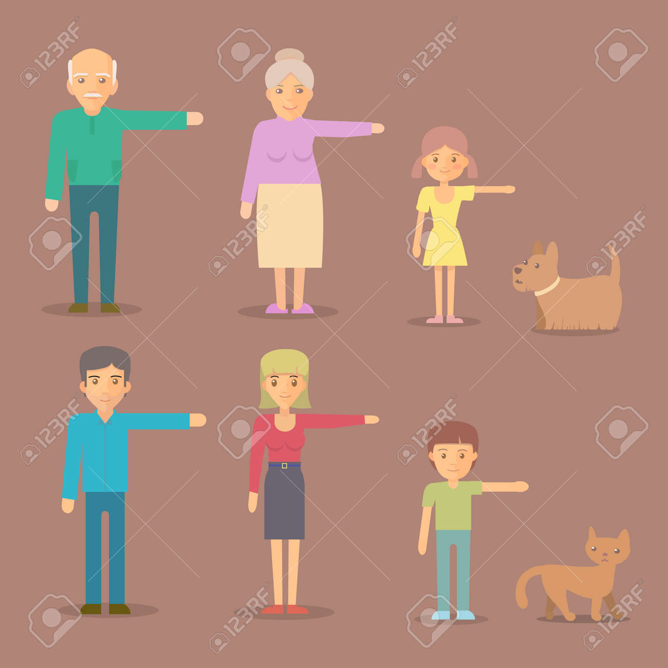 Mom, dad, grandma, grandpa, son daughter dog cat