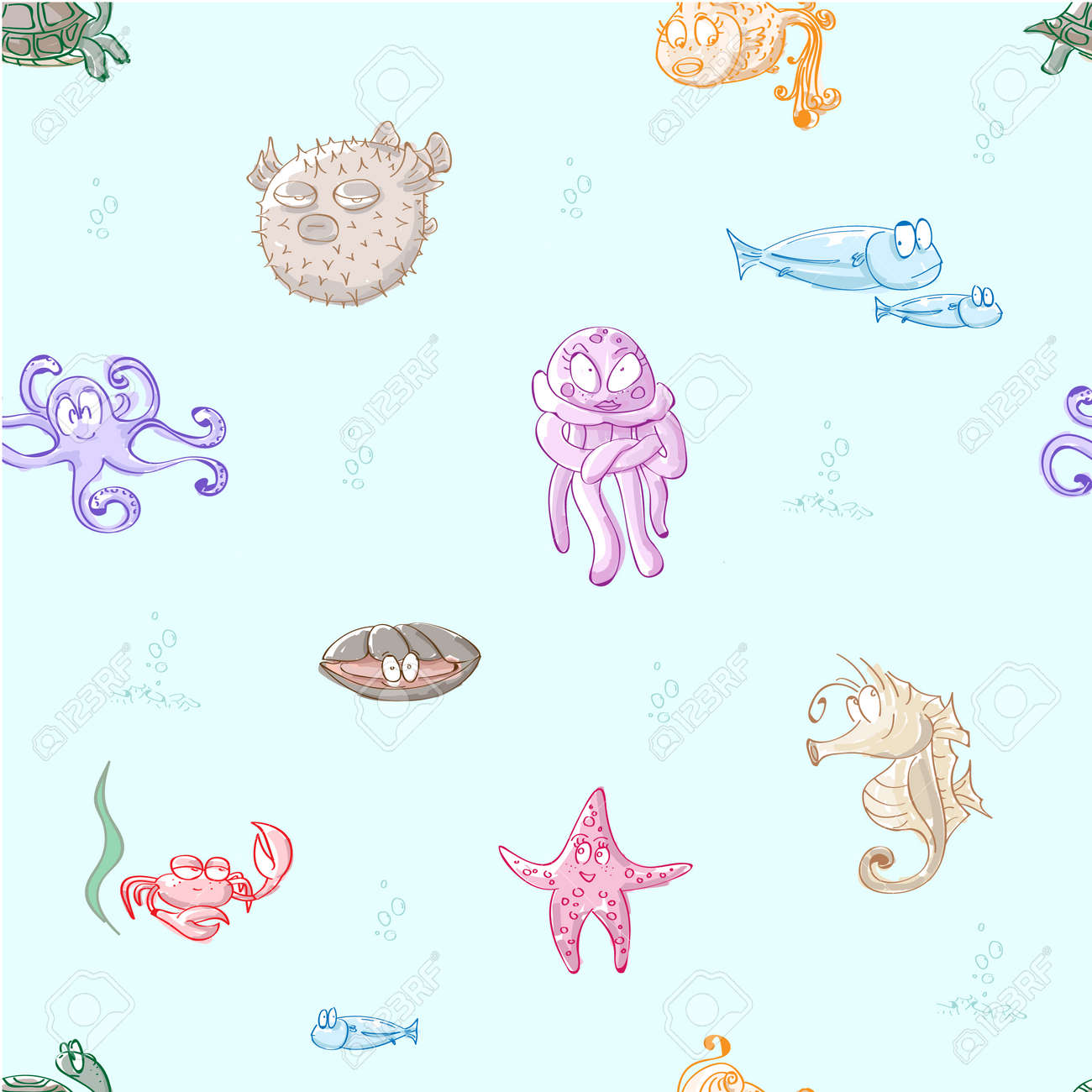 Cute Cartoon Sea Creatures Set Sea Fishes And Collection Seamless