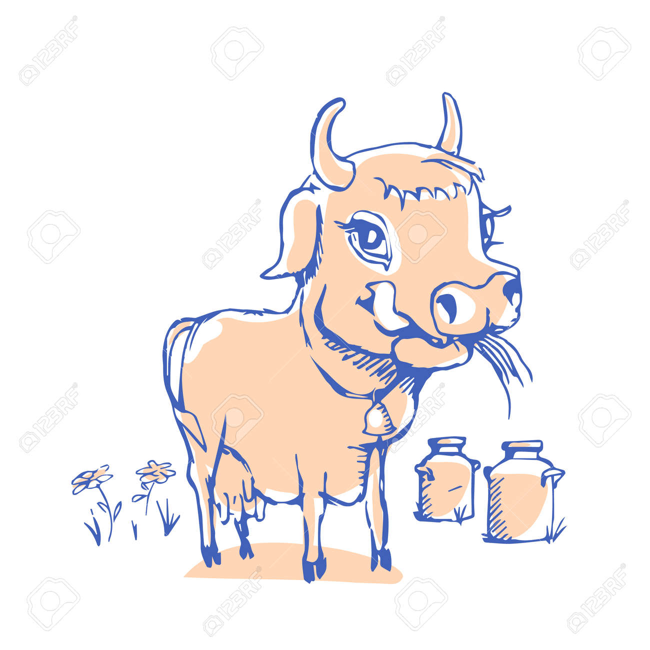 Isolated funny sketch cow for milk product  Cartoon cute cow