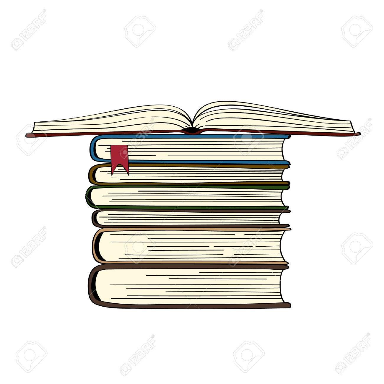 Pile De Livres Dessines A La Main Illustration Vectorielle Livre Ouvert