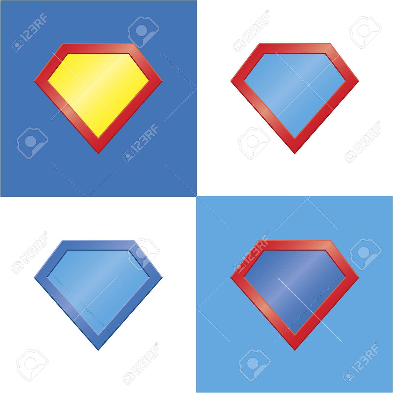 superhero logo template blank super hero badge set vector