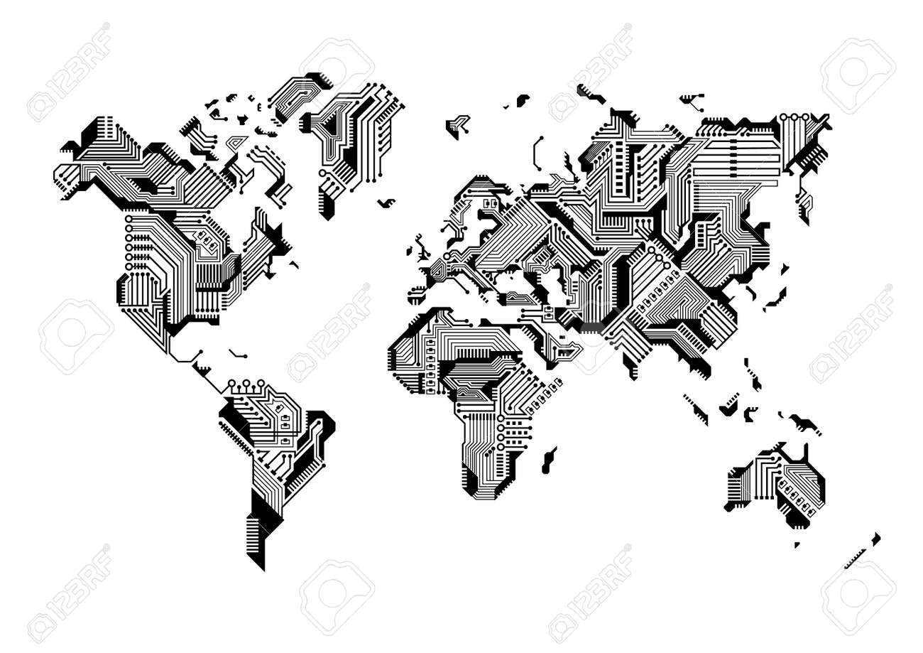 World Map Circuit Board Design Vector Illustration Royalty Free ...