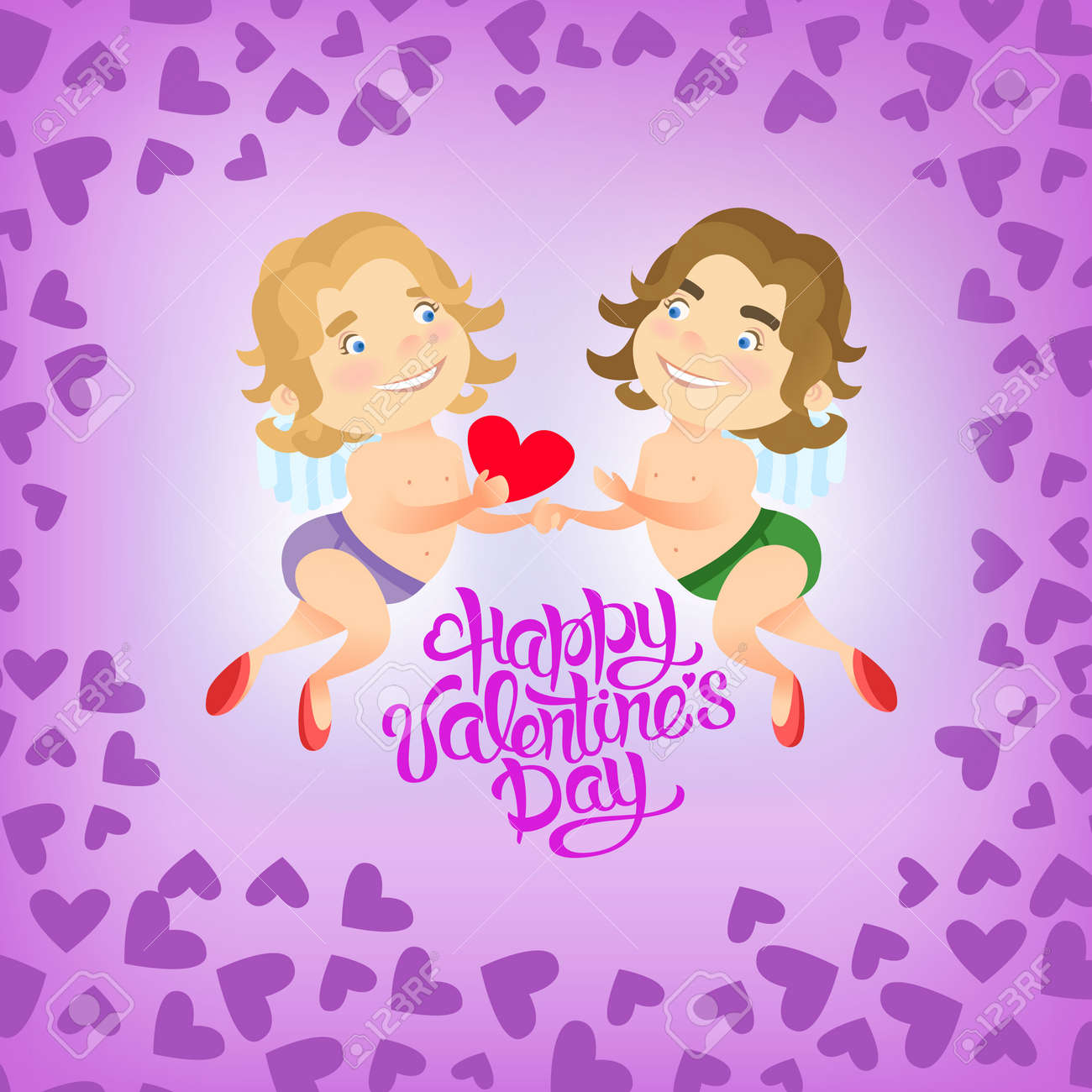 Vector Illustration Greeting Card Happy Valentine Day With