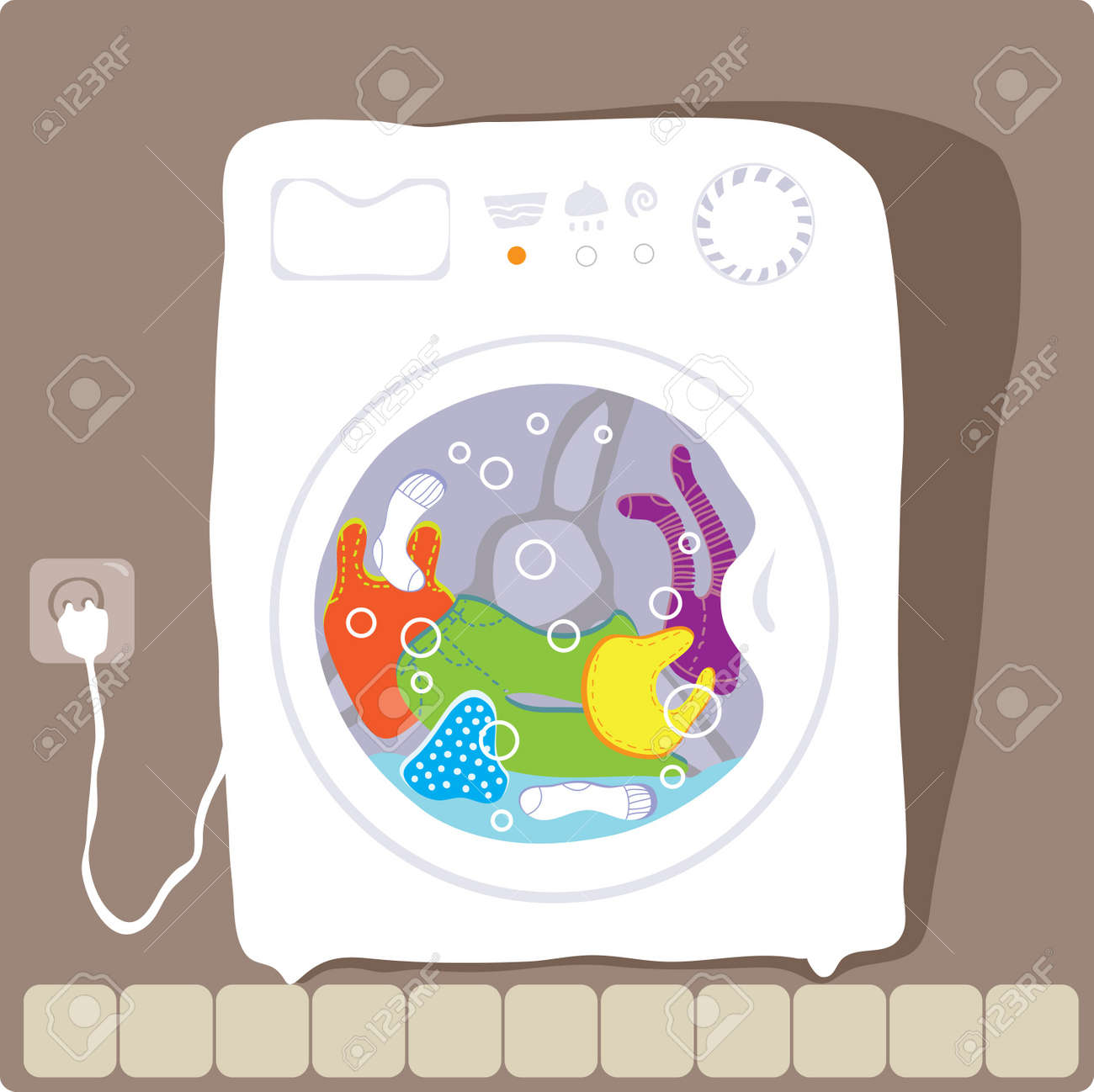 washing machine drawing color. vector drawing washing machine that washes clothes color stock - 12204337 y