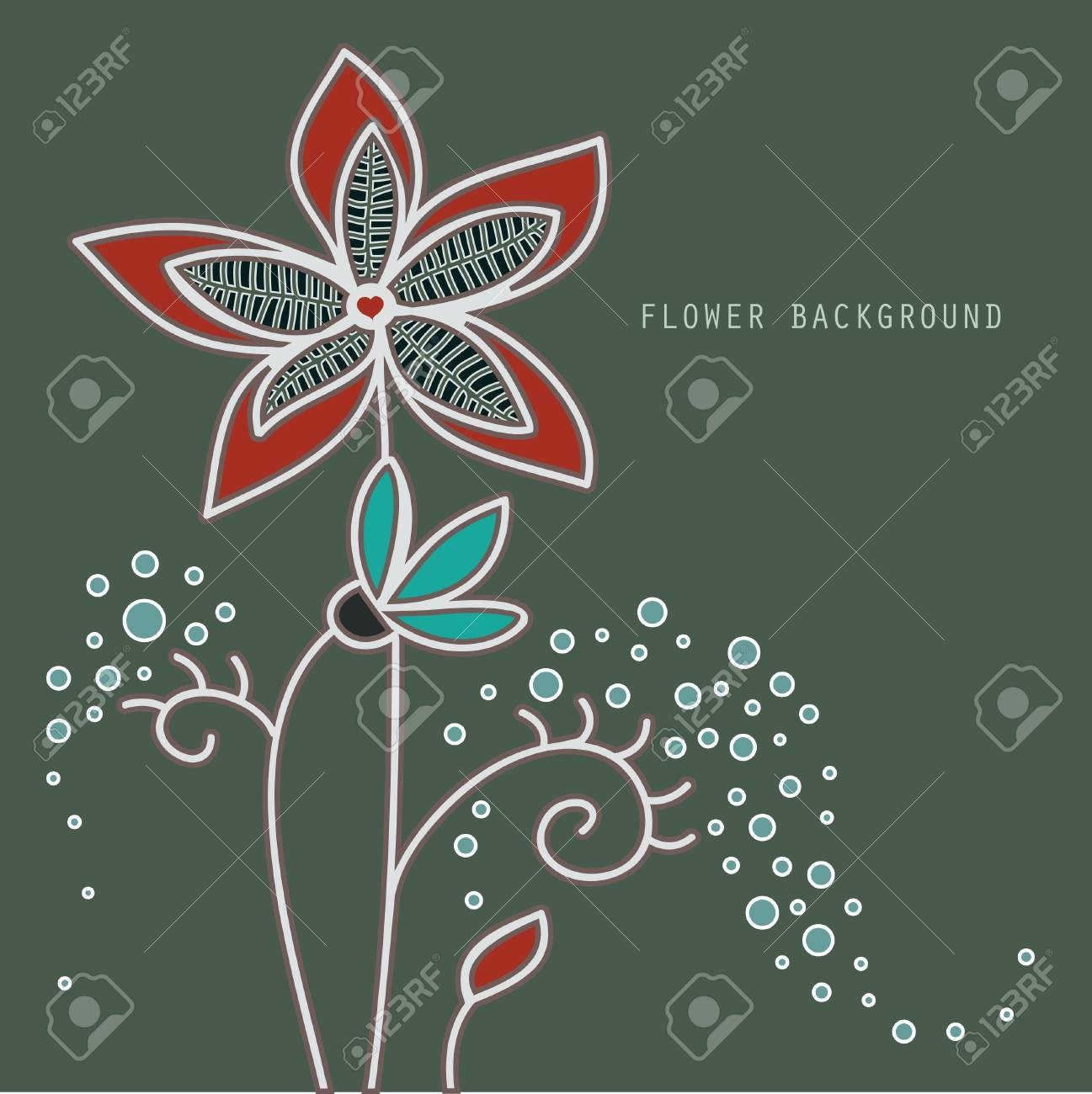picture of a flower with a central heart-shaped Stock Vector - 12487475