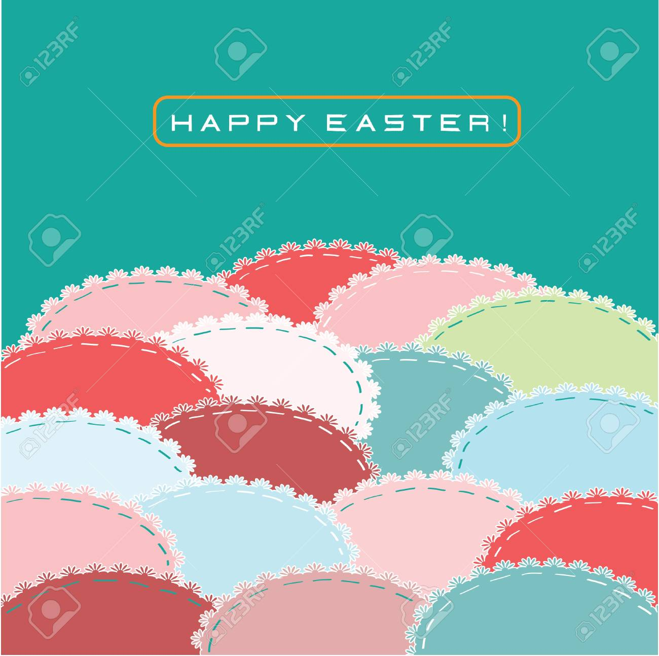 greeting card with colored easter eggs Stock Vector - 12487982