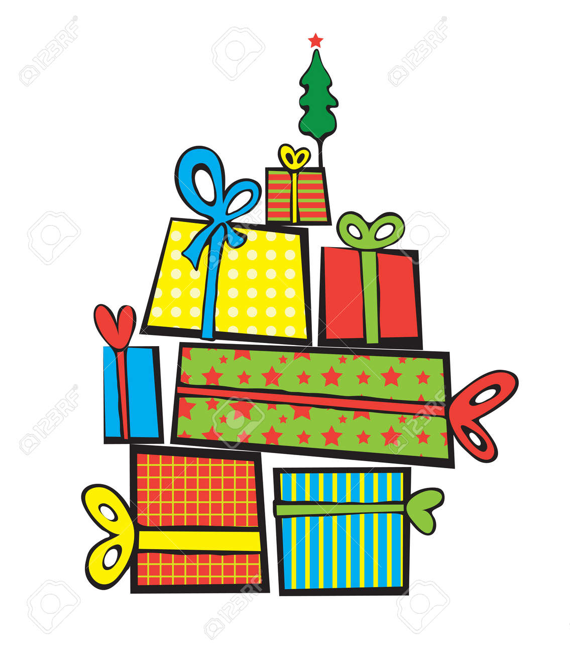 Vector pile of Christmas gifts, on top of a small tree with a stares Stock Vector - 15173069
