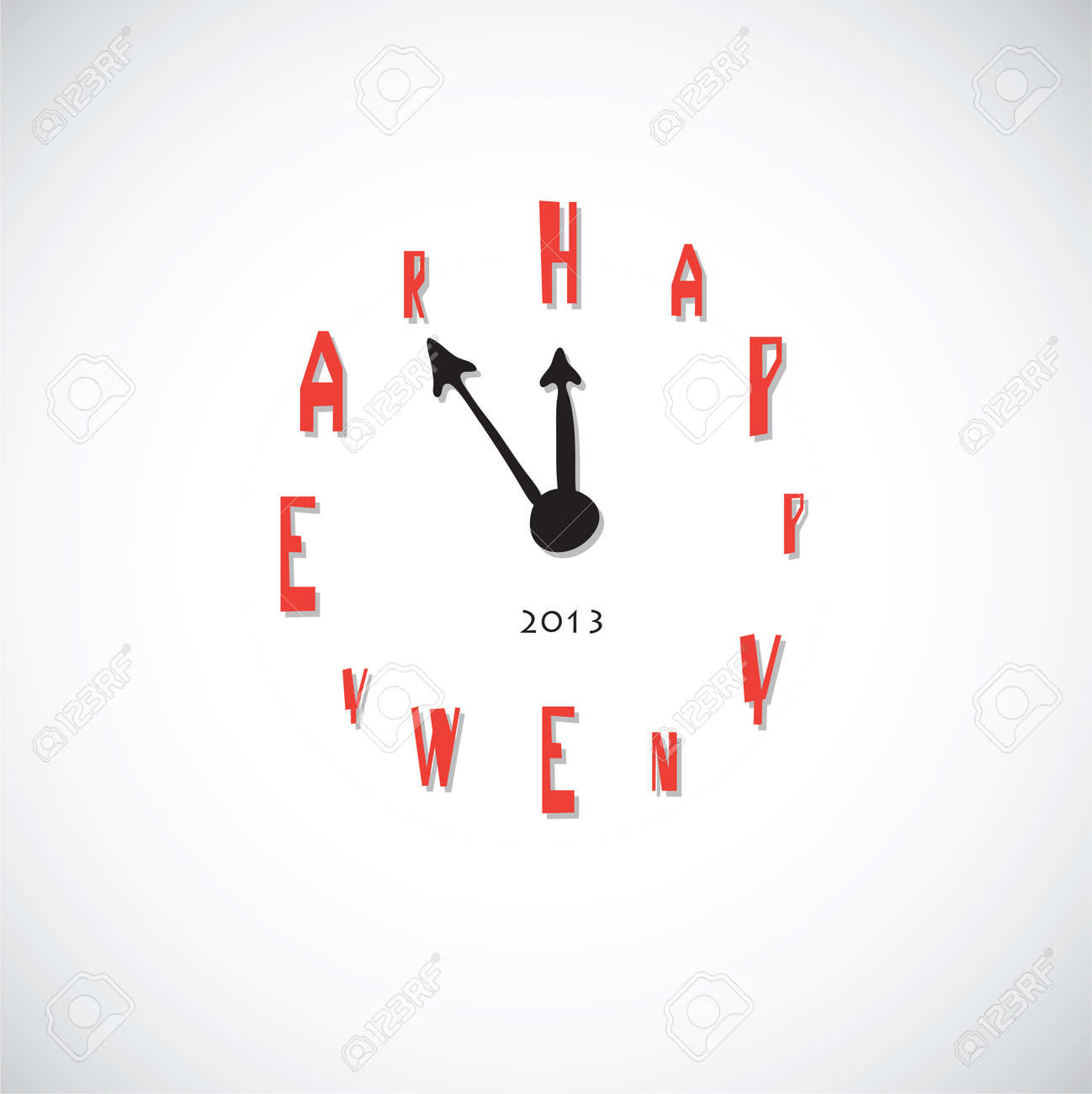 Vector art  Clock, instead of the numbers the letter  Happy New Year Stock Vector - 16003366
