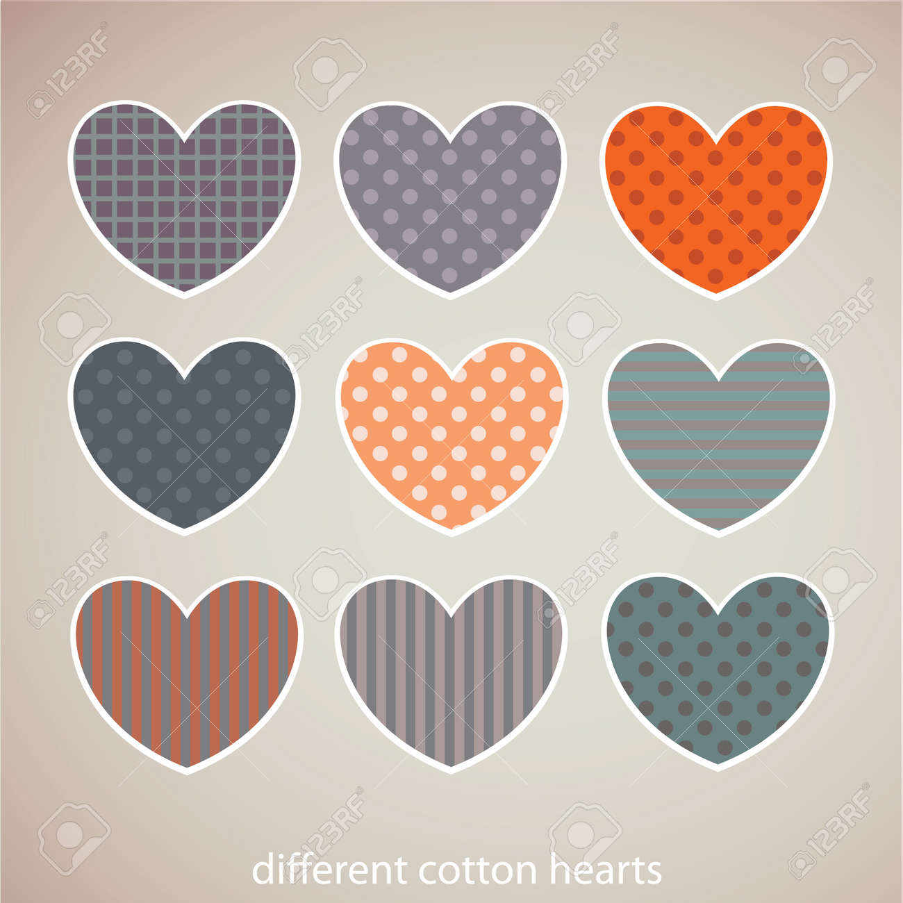 Cotton hearts on white background Stock Vector - 16844210
