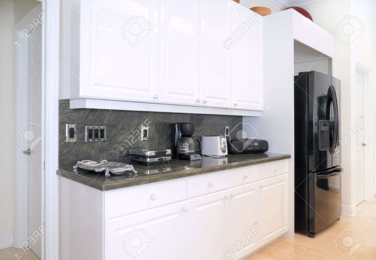 View Of A Beautiful Modern Kitchen With Upscale Appliances White