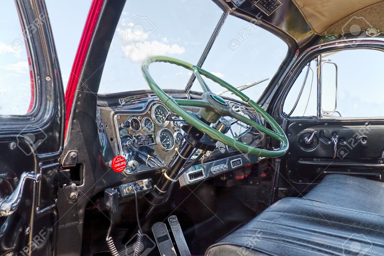 Close Up Of The Interior Of An Antique Mack Truck B 61 Thermodyne From 1957