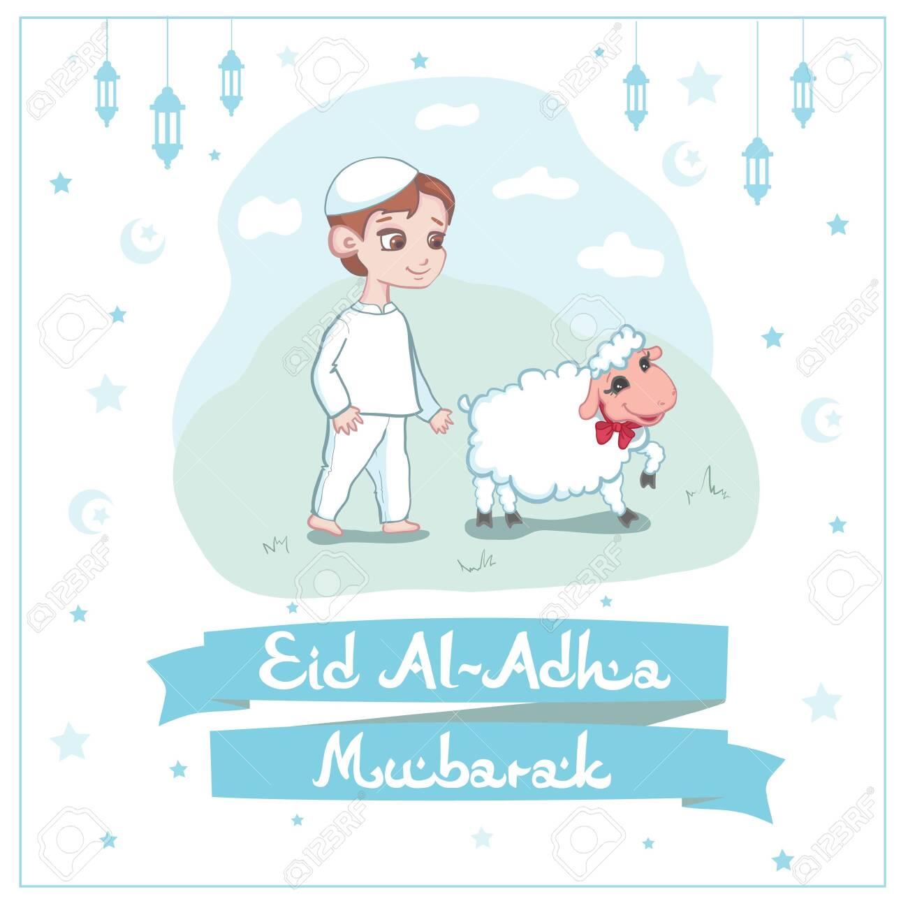 Card or poster design for Eid Al-Adha Mubarak festival to celebrate the willingness - 128521394