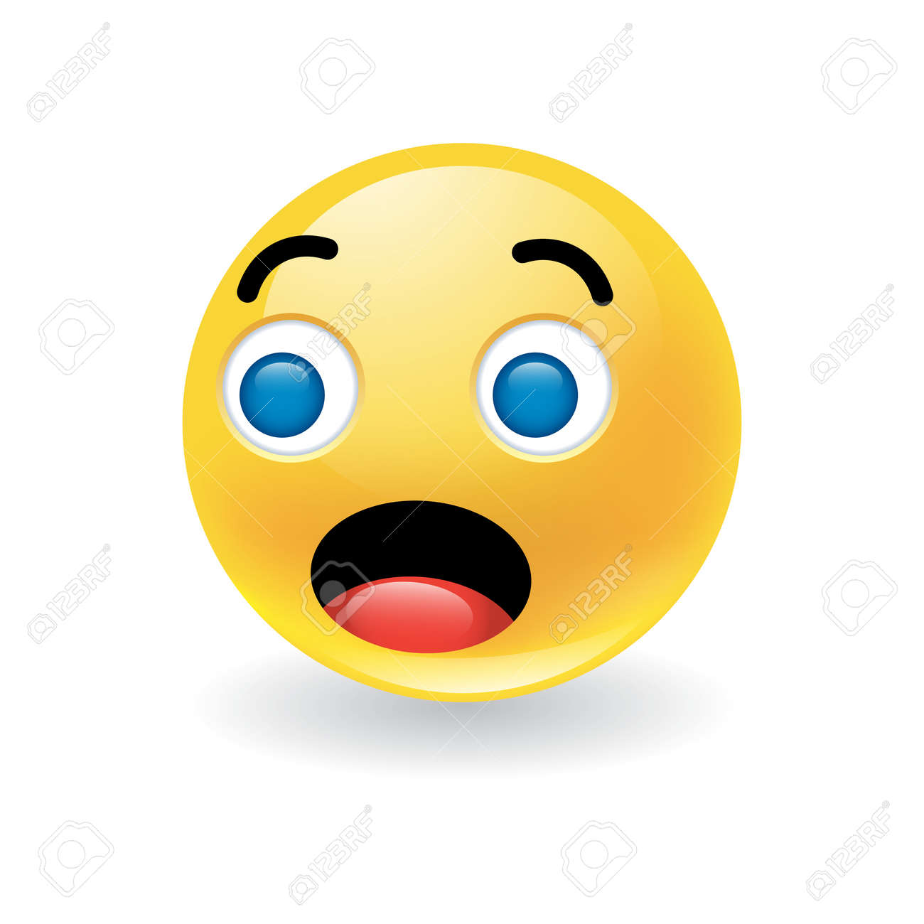 Colorful yellow round emoticon showing astonishment or amazement - 130748338