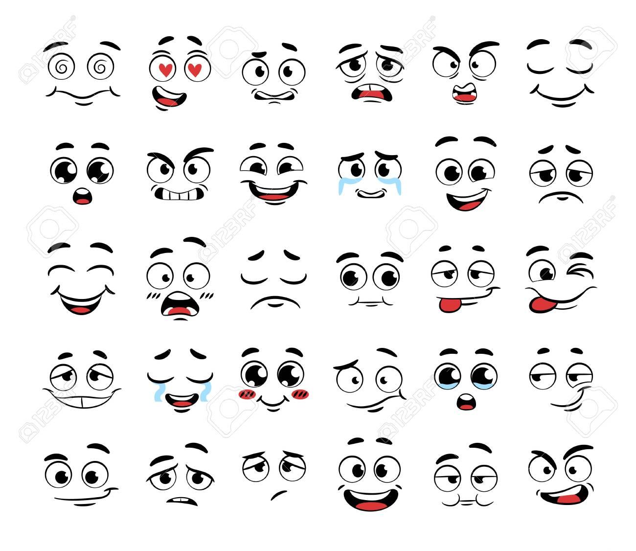 Set of funny cartoon faces - 134591128