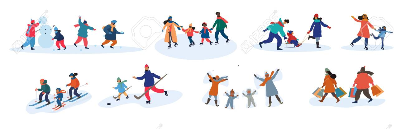 Set of eight different family activities in winter - 139184345