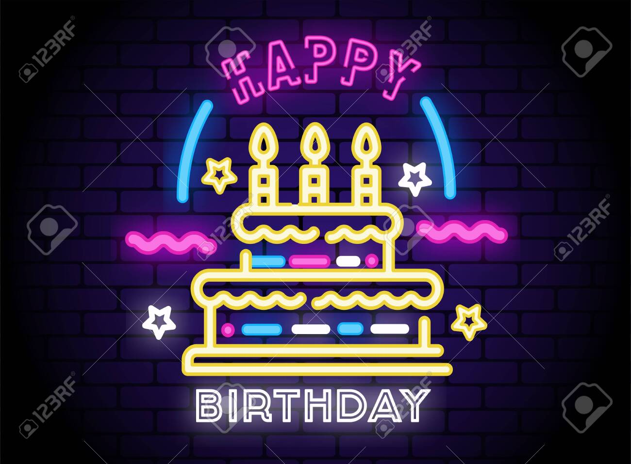 Awe Inspiring Happy Birthday Festive Neon Sign With Cake And Candles Shining Birthday Cards Printable Giouspongecafe Filternl