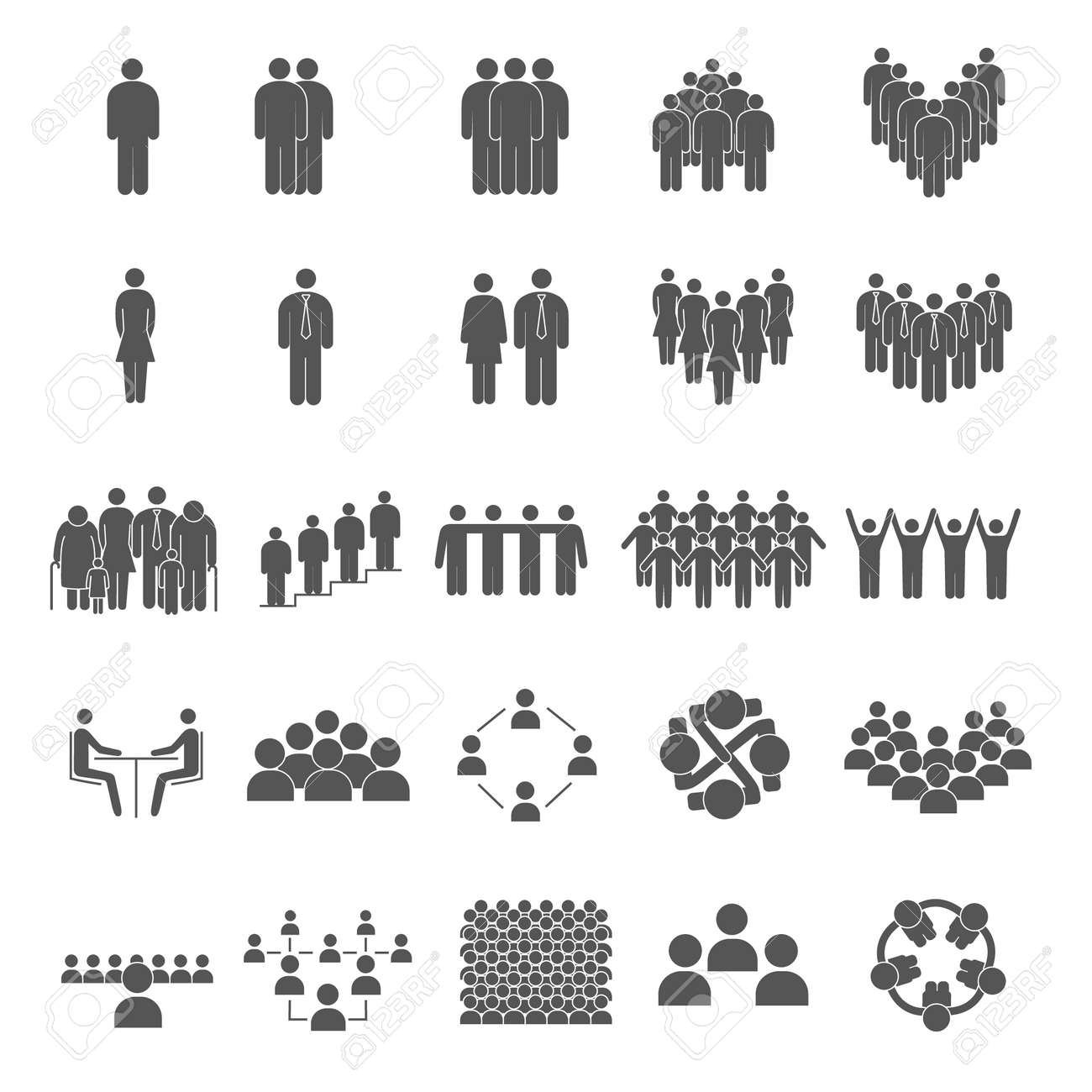 Set of grouping people icons - 144841387