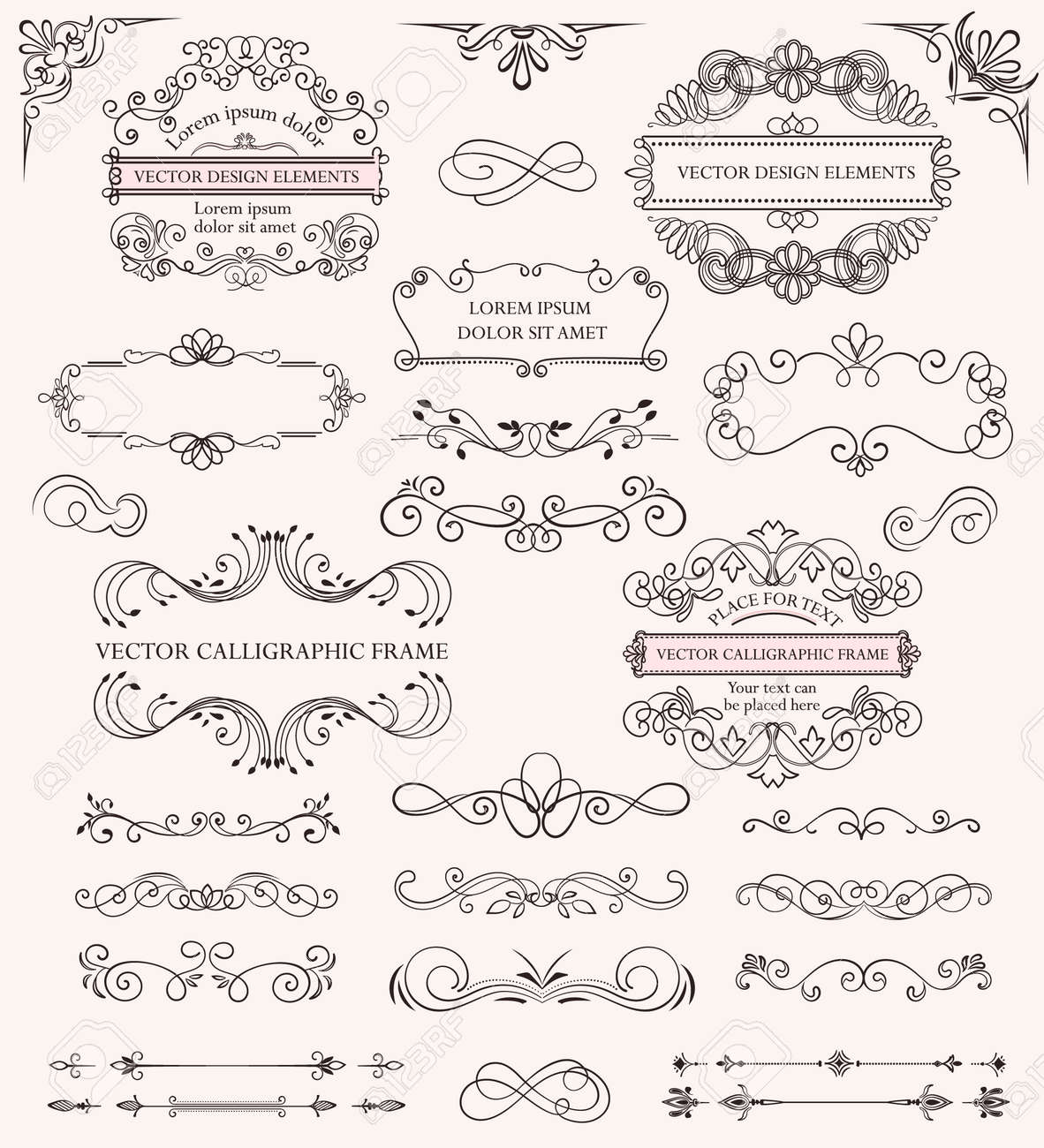 Set of different calligraphic frames and patterns - 149773717