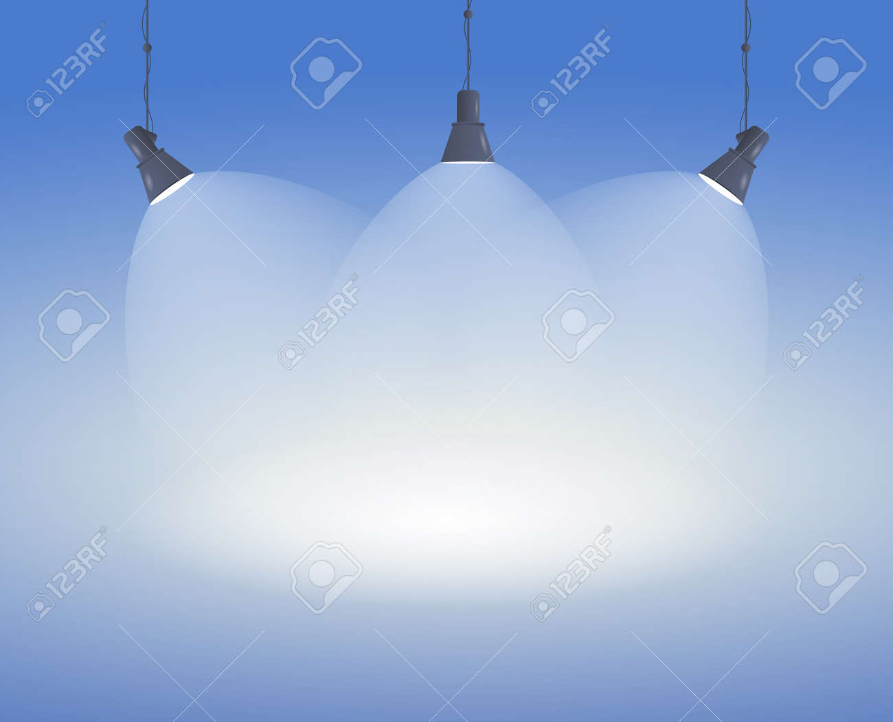 Spotlight background with three converging beams - 155176501