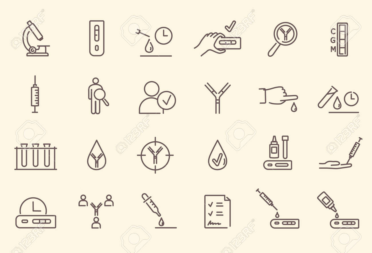 Simple set of black and white outline antibody test icons - 162344014