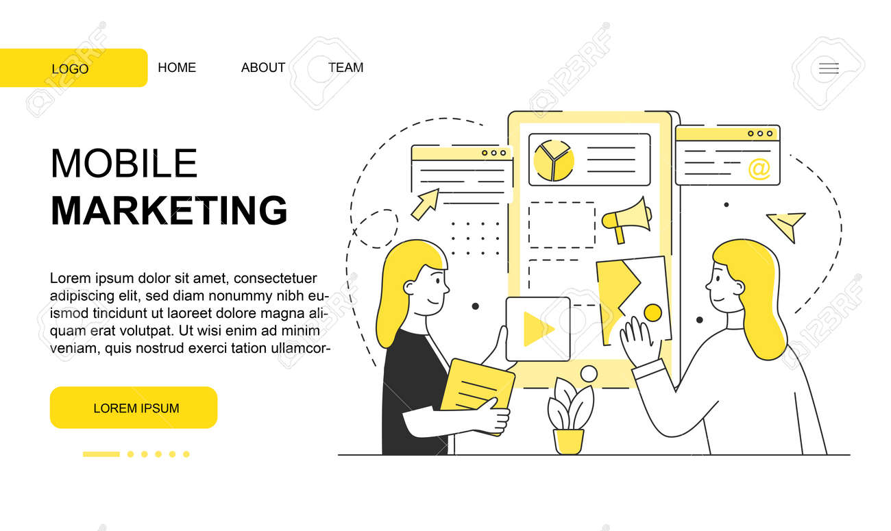 Two female characters are working on mobile marketing website design - 165544706