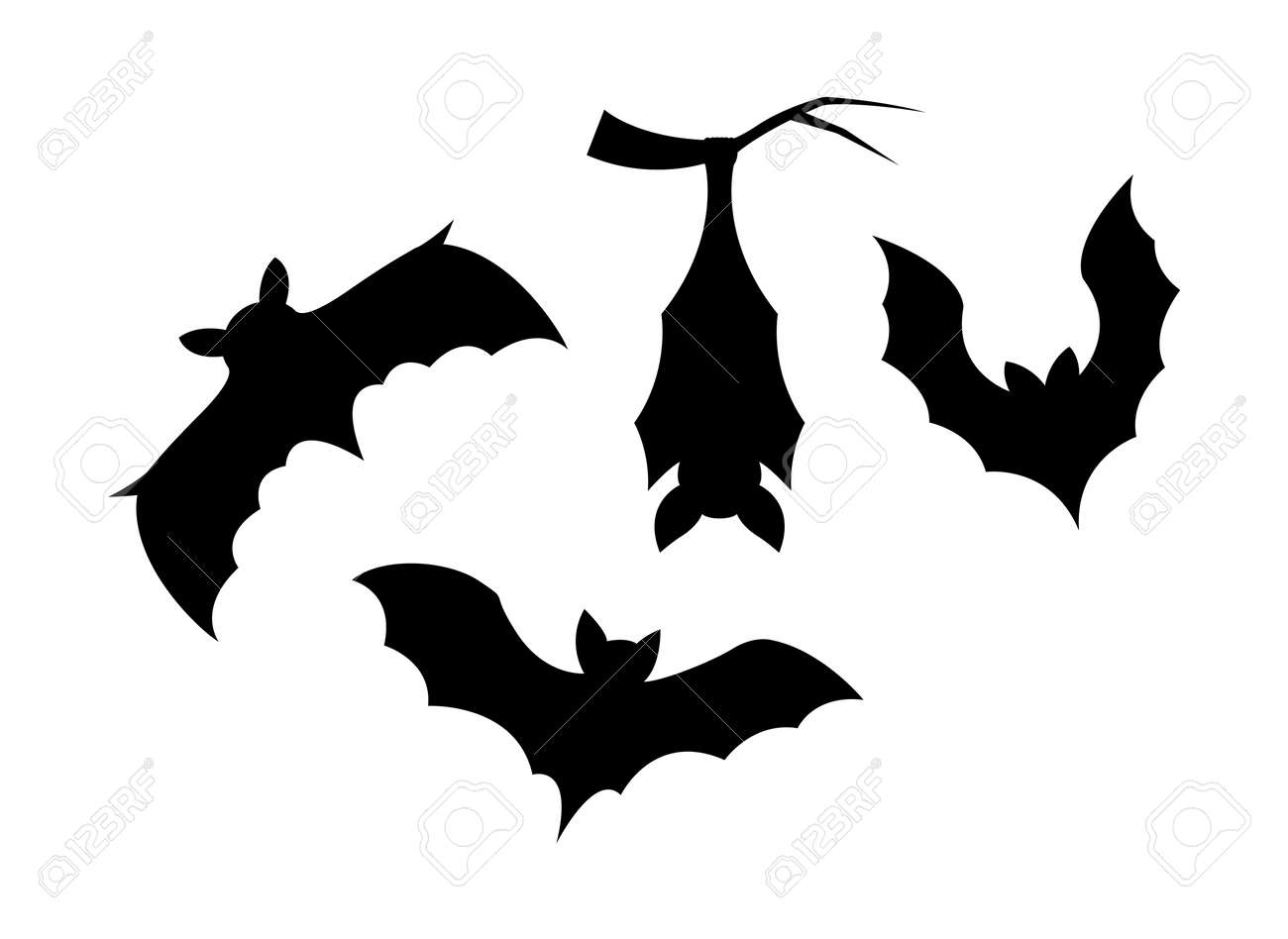 Silhouette elements of bats on white background - 169496393
