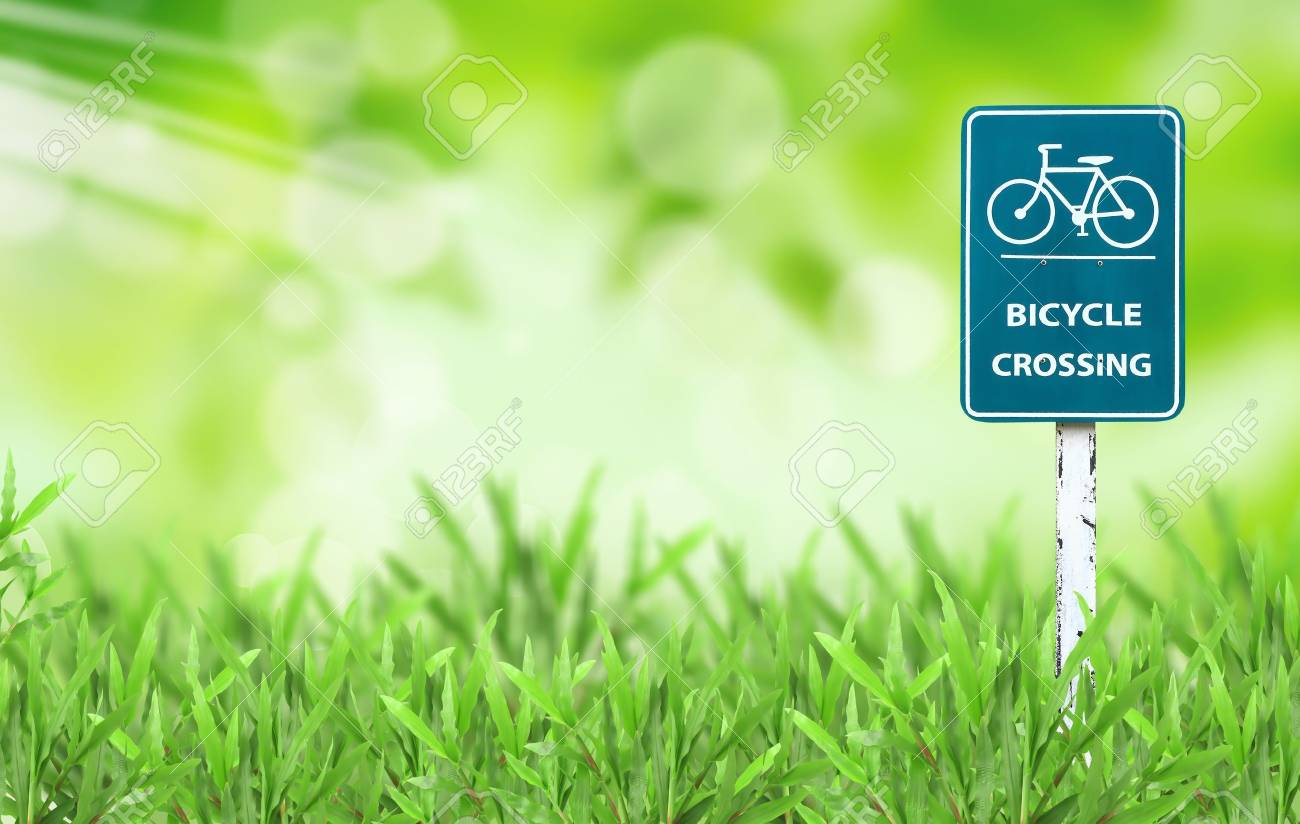 bicycle sign and green grass Stock Photo - 9440326