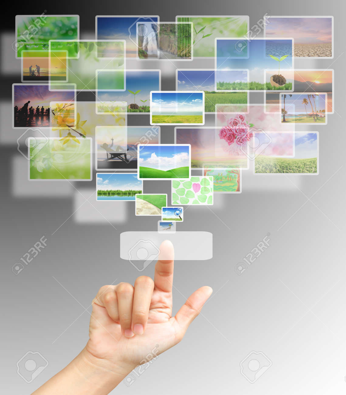 the hand on the flow of several button Stock Photo - 9546685