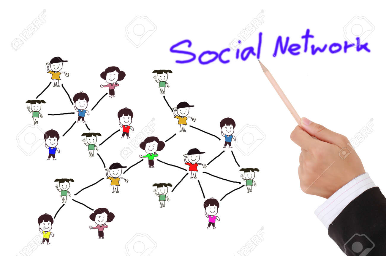 drawing social network structure in a whiteboard Stock Photo - 10117612