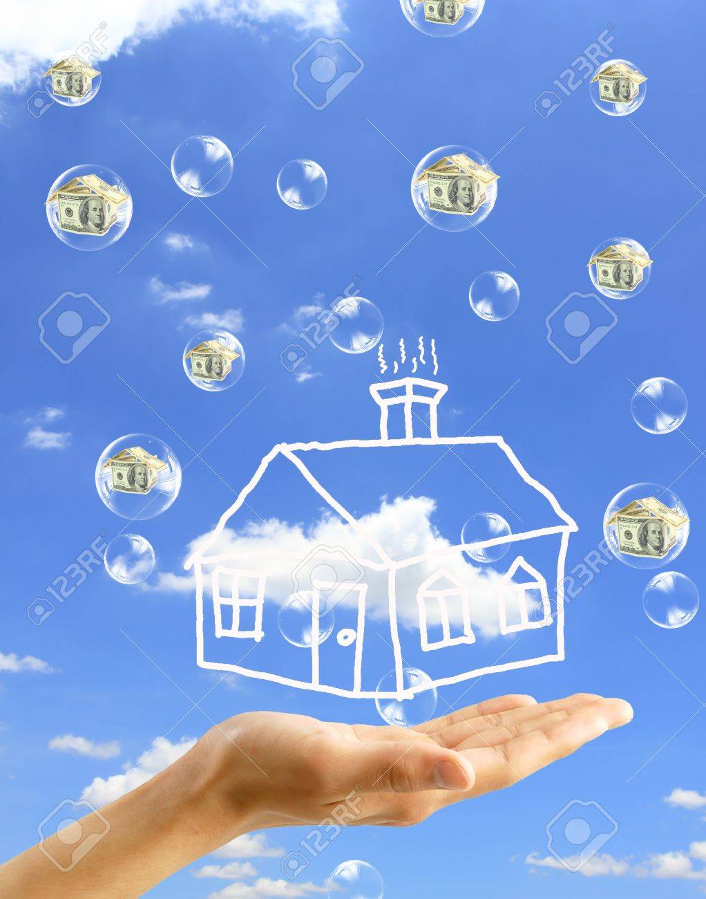 Real-Estate Bubble on the background sky Stock Photo - 10427796