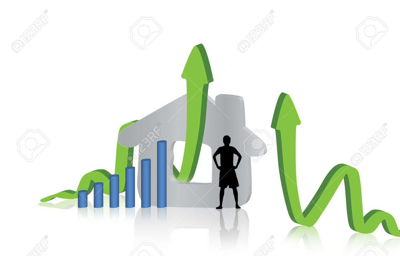 Growing home sales   graphic  design Stock Photo - 10659279
